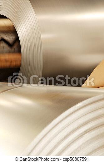 Large aluminium steel rolls in the factory - csp50807591