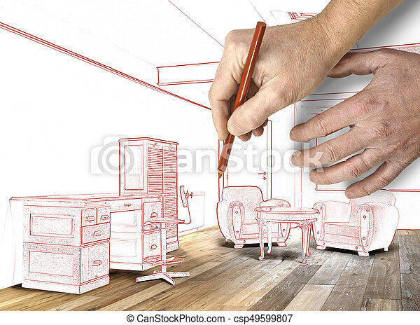 Large bureau plancher bois grenier planifié intérieur