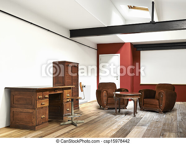 Large bureau plancher bois grenier intérieur