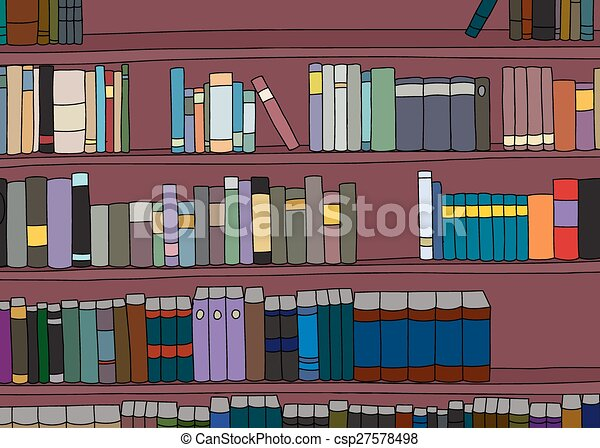 Large Cartoon Bookshelf With Rows Of Blank
