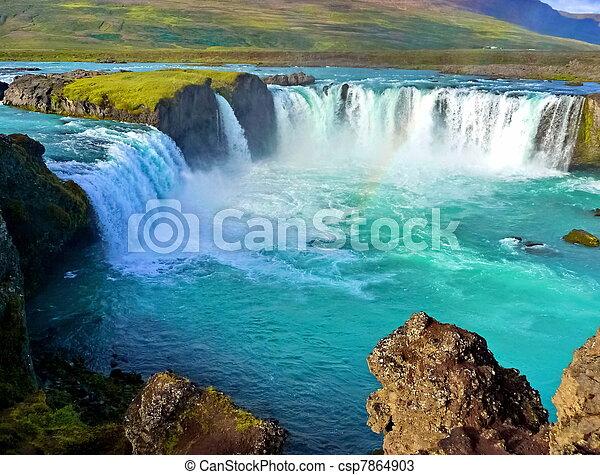 large, chute eau, rivière, islande - csp7864903
