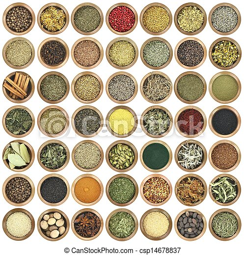 Large collection of metal bowls full of herbs and spices - csp14678837