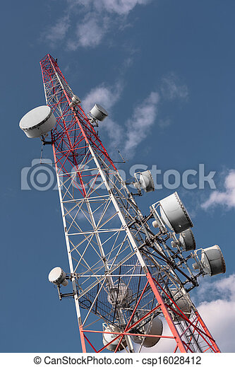 Large Communication tower against sky - csp16028412