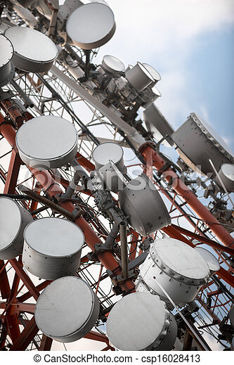 Large Communication tower against sky - csp16028413