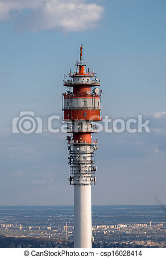 Large Communication tower against sky - csp16028414