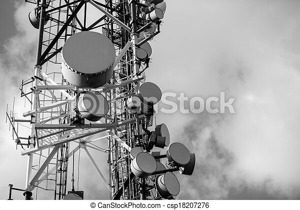 Large Communication tower against sky - csp18207276