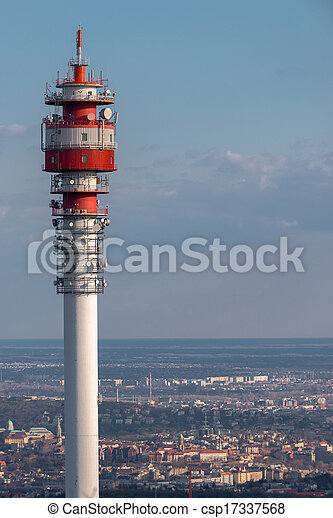 Large Communication tower against sky - csp17337568