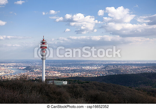 Large Communication tower against sky - csp16652352