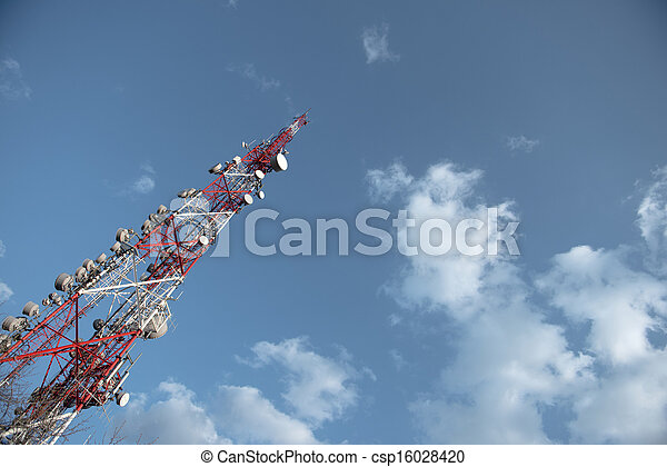 Large Communication tower against sky - csp16028420