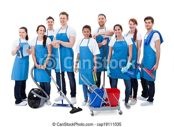 Large diverse group of janitors with equipment - csp19111035