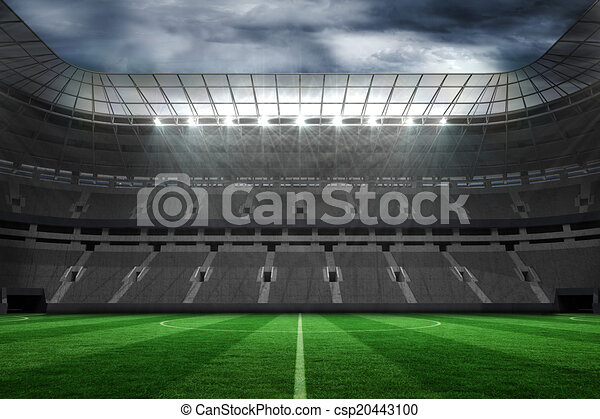 large empty football stadium with lights digitally generated large rh canstockphoto com Cartoon Football Field Clip Art football stadium background clipart