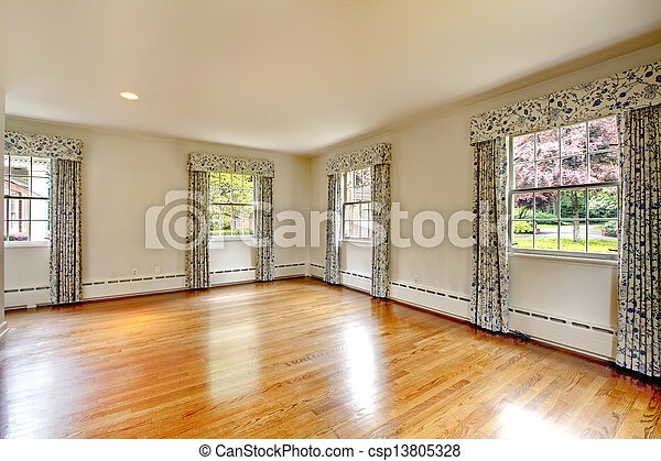 Large Empty Room With Hardwood Floor And Curtains Old
