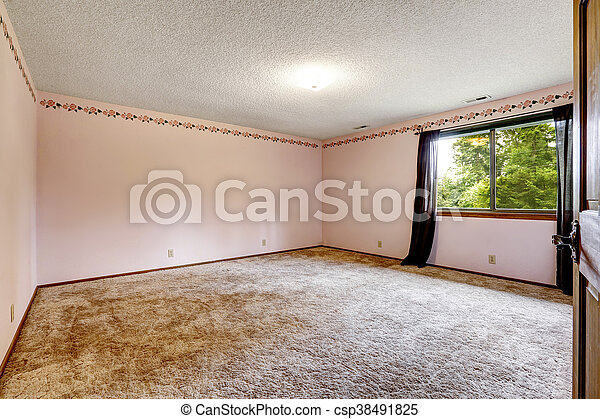 Large Empty Room With Soft Carpet Floor, One Window