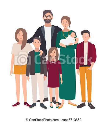 Large Family Portrait European Mother Father And Five Children