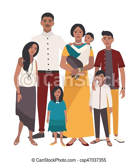 Large Family Portrait Indian Mother Father And Five Children