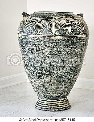 Large Grey Clay Vase Large Grey Clay Vase In Natural Light On