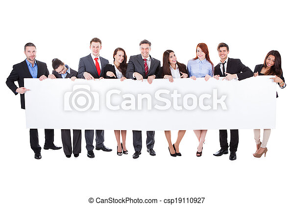 Large group of businesspeople presenting banner - csp19110927