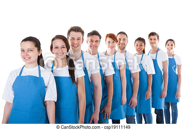 Large group of cleaners standing in a line - csp19111149