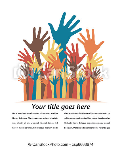 Large group of happy hands design. - csp6668674