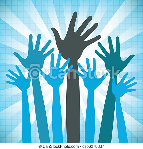 Large group of happy hands design. - csp6278837