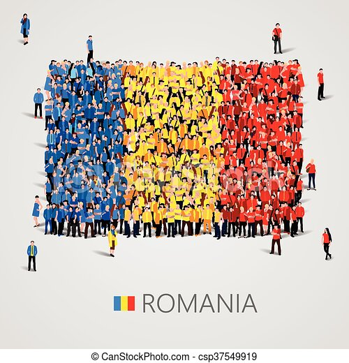 Large group of people in the Romania flag shape. - csp37549919