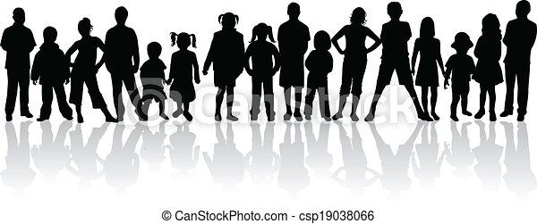 Large group of people - vector silhouettes.