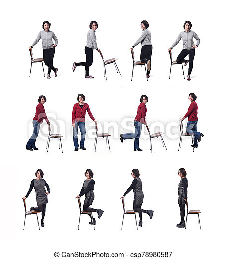 large group of woman playing with a chair in white background - csp78980587