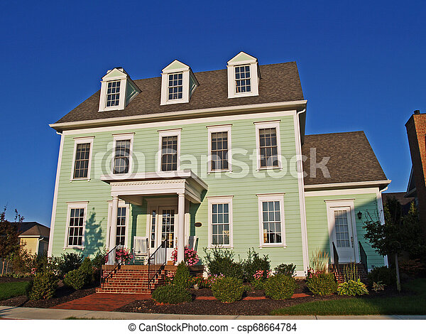 Large Historical Styled Two-Story Green Home - csp68664784