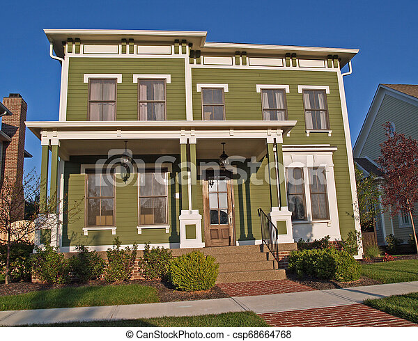 Large Historical Styled Two-Story Green Home - csp68664768
