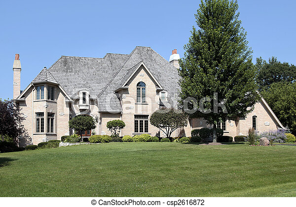 Large home with cedar shake roof - csp2616872