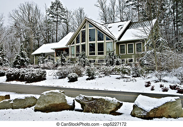 Large House in Winter - csp5227172