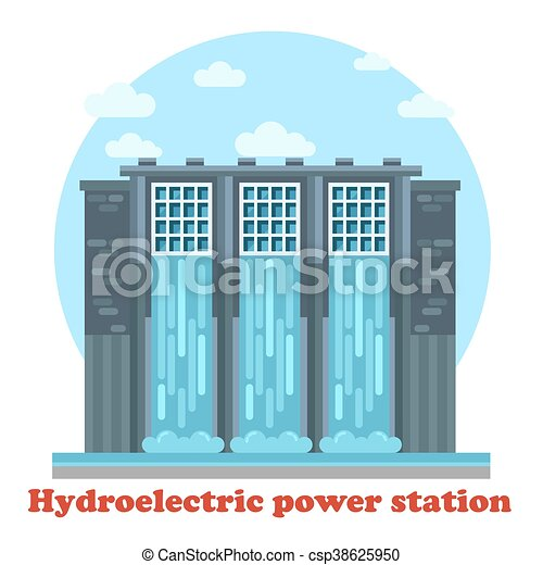 Large hydroelectric power station and water falling from dam or dike, dyke or causeway, levee or seawall. Architecture of sustainable renewable energy generator - csp38625950