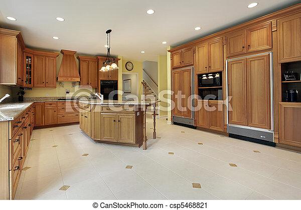 Large kitchen in luxury home - csp5468821