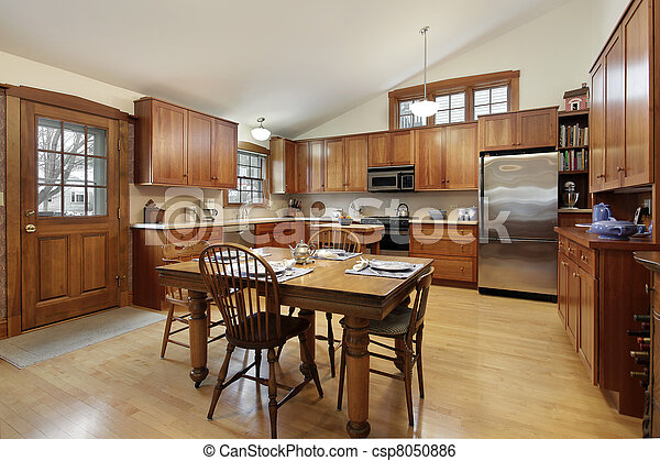 Large kitchen in luxury home - csp8050886