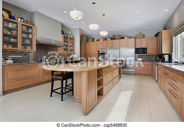 Large kitchen in luxury home - csp5468830