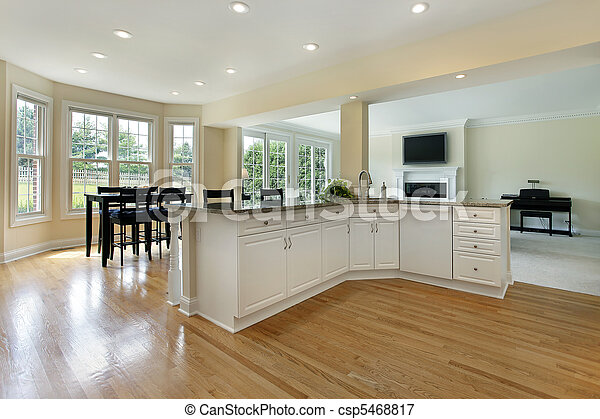 Large kitchen in remodeled home - csp5468817