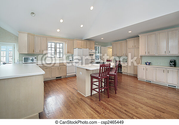 Large kitchen in suburban home - csp2465449