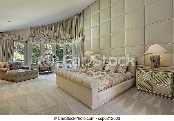 Large master bedroom with doors to balcony - csp6212603