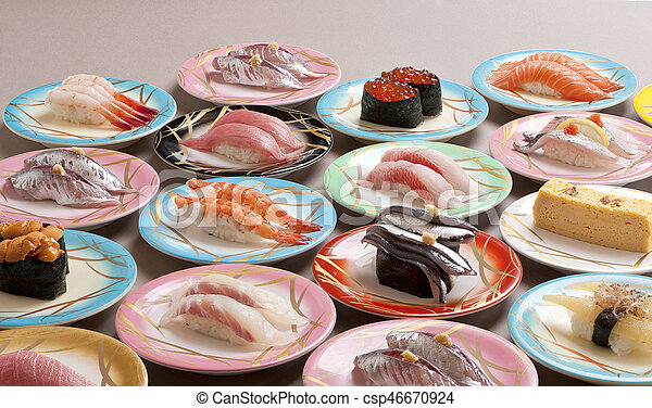 Large meal of shushi sashimi with shrimp, salmon, tuna, squid and makerel - csp46670924