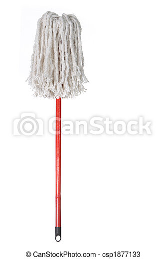 Large Mop Upside Down Isolated on White - csp1877133