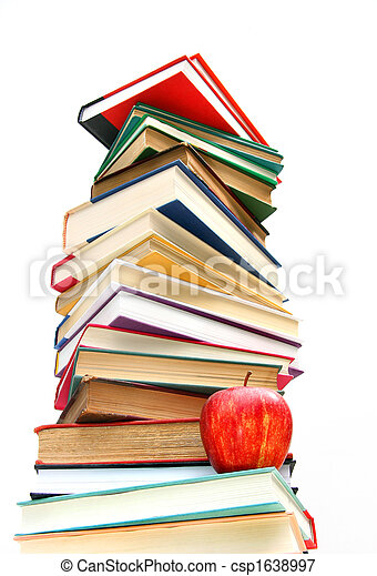 Large pile of books isolated on white - csp1638997