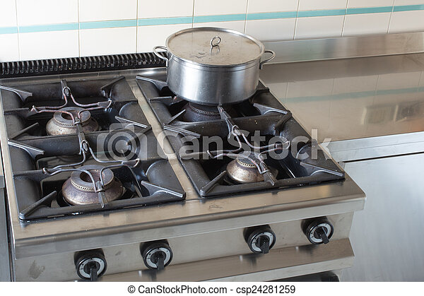 Stock Photo   Large Pot Over The Stove Of Industrial Kitchen
