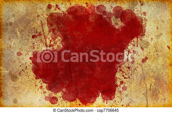 Large, Red Blood Stain on Old, Aged Paper - csp7706645