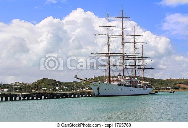 Large Sailing Ship in Antigua Barbu - csp11795760