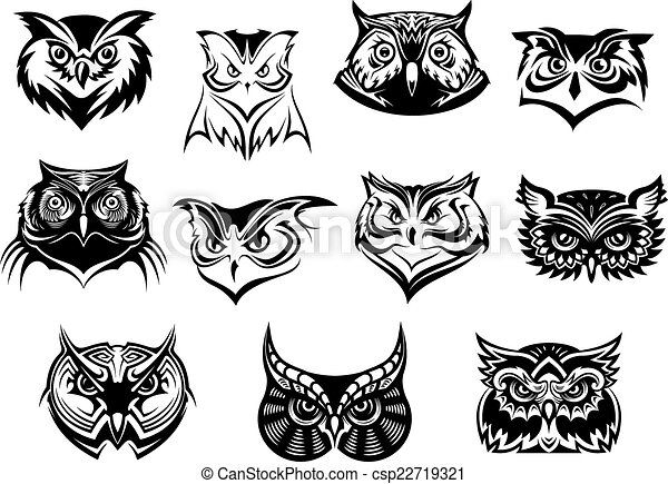 Large set of black and white owl heads csp22719321