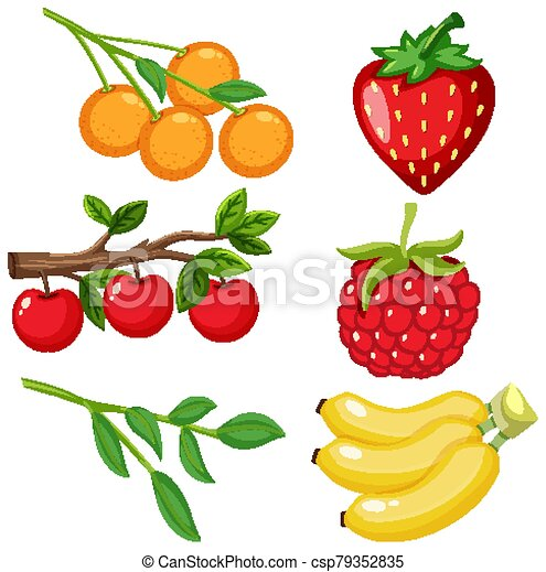 Different types of fresh fruits on white background illustration Stock  Vector Image & Art - Alamy