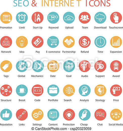 Large set of SEO and internet icons - csp20323059