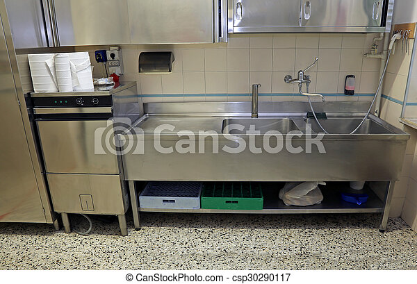 Large stainless steel sink of industrial kitchen for preparing food ...