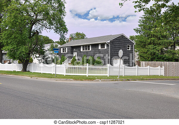 Large Suburban Home with White Picket Fence Corner Lot - csp11287021