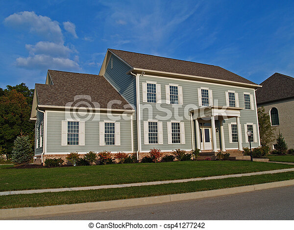 Large Two-Story Gray Home - csp41277242